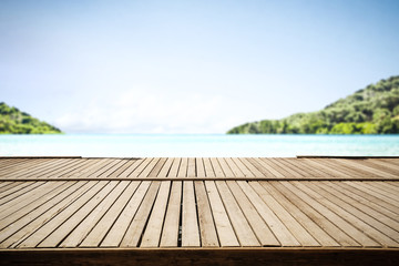 wooden pier background and free space for your decoration. Summer sea landscape.