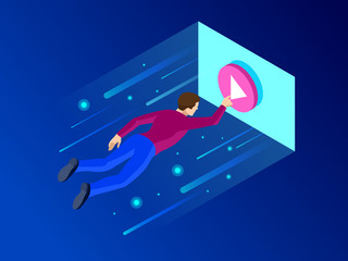 Isometric media player skin or video player interface modern concept. The teenager flies to the screen vector illustration