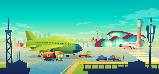 Vector cartoon airport landscape, green airliner, jet on runway. Maintenance and refueling, loading of luggage on commercial airplane on background of building with control tower. Concept banner