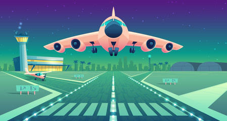 Vector cartoon illustration, white airliner, jet over runway. Takeoff or landing commercial airplane against background of blue night sky or airport building with lights control tower. Concept banner