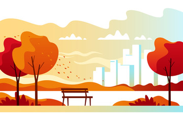 Autumn city park with town buildings on a background. Vector illustration.