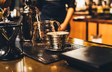 Barista prepare Drip coffee,Coffee concept background.