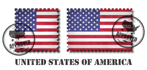 America or american flag pattern postage stamp with grunge old scratch texture and affix a seal on isolated background . Black color country name with abrasion . Square and rectangle shape . Vector