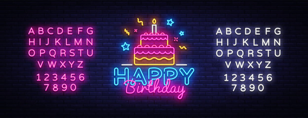 Happy Birthday Neon Text Vector. Happy Birthday neon sign, design template, modern trend design, night neon signboard, night bright advertising, light banner. Vector. Editing text neon sign