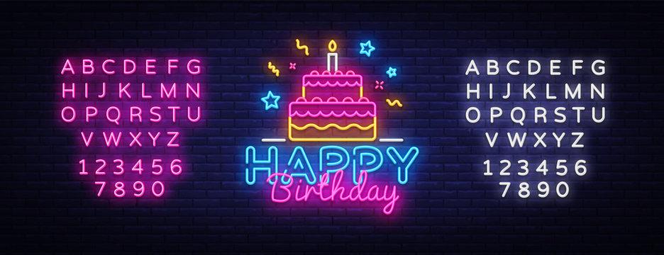 Happy Birthday Neon Text Vector. Happy Birthday neon sign, design template, modern trend design, night neon signboard, night bright advertising, light banner. Vector. Editing text neon sign