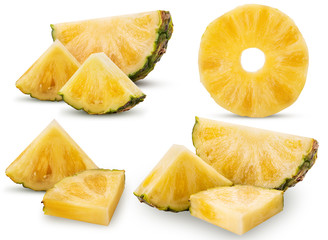 Collection pineapple fruit slice and ring