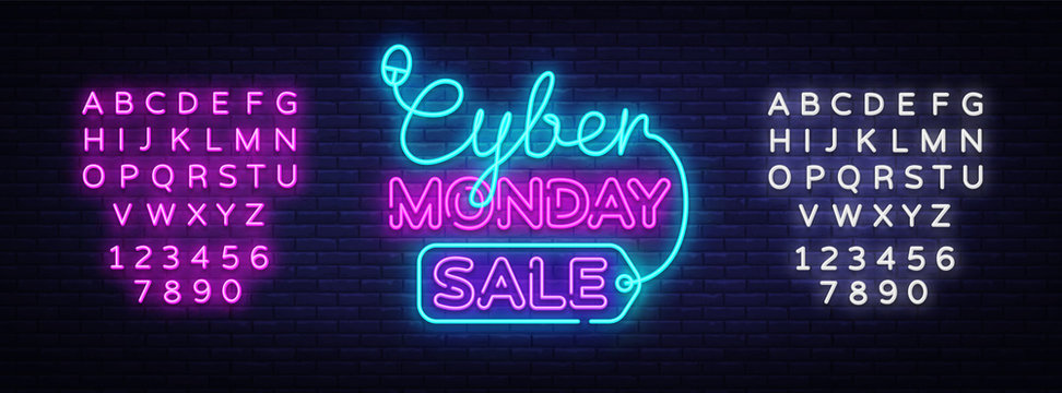 Cyber Monday, discount sale concept Vector illustration in neon style, online shopping and marketing concept. Neon luminous signboard, bright banner, Light advertisement. Editing text neon sign