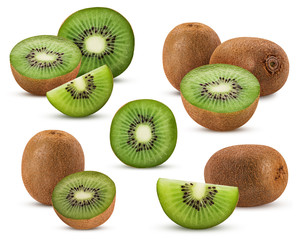 Collections kiwi fruit cut in half, whole, slice