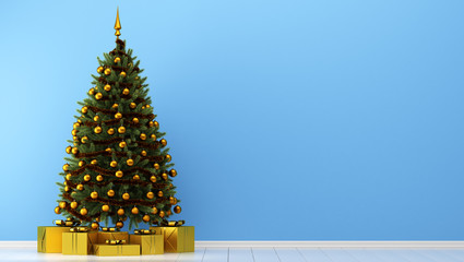 decorated christmas tree with gift boxes in blue room