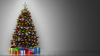 decorated christmas tree with gift boxes in dark room