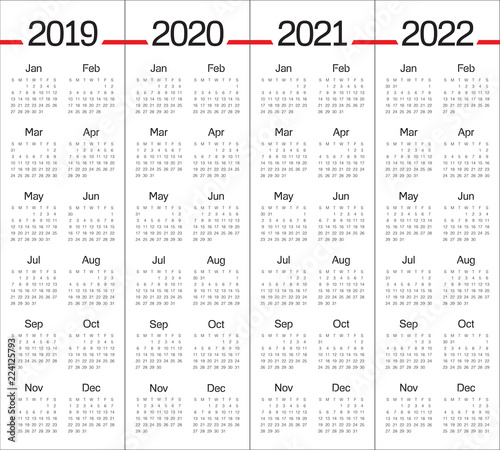 Calendario 2020 Vector Gratis.Year 2019 2020 2021 2022 Calendar Vector Design Template