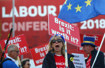 Pro-EU supporters demonstrate ouside the annual Labour Party Conference in Liverpool