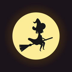 Witch silhouette flying on broom on night moon background. Vector art. Witch on broomstick and round glowing moon in night sky. Halloween holiday concept.
