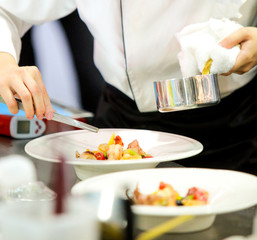 Chef preparing food, meal, in the kitchen, chef cooking, Chef decorating dish, closeup, .chef at work.