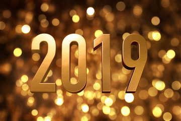 2019 happy new year number with sparkling gold bokeh backgrorund