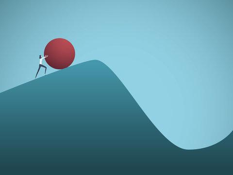 Businesswoman pushing boulder uphill vector concept of Sisyphus. Symbol of hard work, futile effort, strength, struggle, challenge but also motivation and ambition.