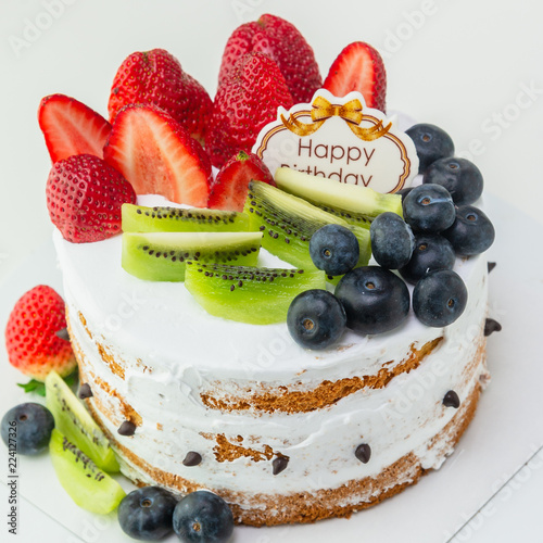 Fresh Fruit Homemade Cake With Happy Birthday Tag