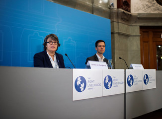 Right Livelihood Award chairman Amelie von Zweigbergk and Executive director Ole von Uexkuell announced the Right Livelihood Award laureates at a press conference