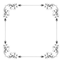 Decorative vintage frame with floral ornament in retro style isolated on white