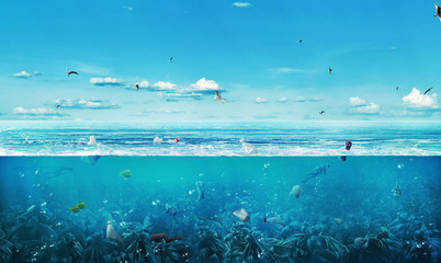 Сoncept of global pollution. The sea full of garbage on the background of nature. Save the planet.