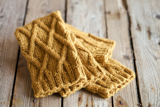 knitted yellow leg warmers