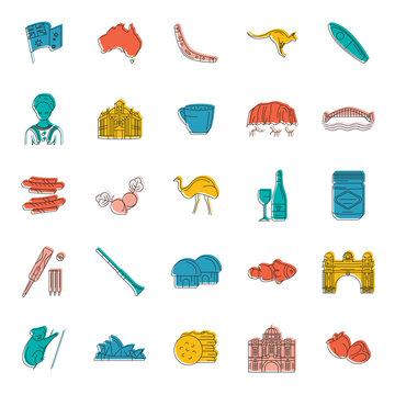 Australia icons set, doodle style