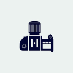 professional camera icon, vector illustration. flat icon