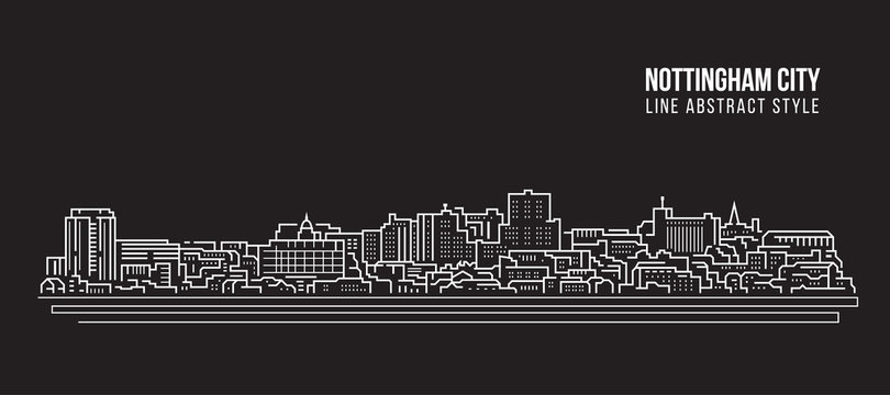Cityscape Building Line art Vector Illustration design - Nottingham city