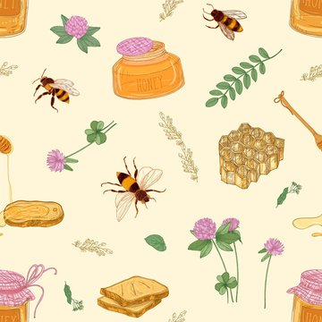 Seamless pattern with honey, bees, honeycomb, linden, acacia, clover plants, jar and dipper on light background