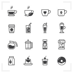 Coffee Shop icons with White Background
