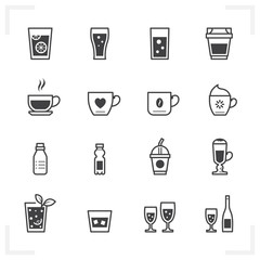 Drink icons and Beverages icons with White Background