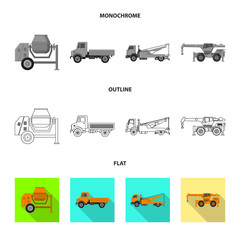 Vector design of build and construction sign. Set of build and machinery vector icon for stock.