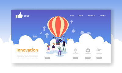 Business Innovation Landing Page Template. Creative Process Website Layout with Flat People Characters on Air Balloon. Easy to Edit and Customize Mobile Web Site. Vector illustration