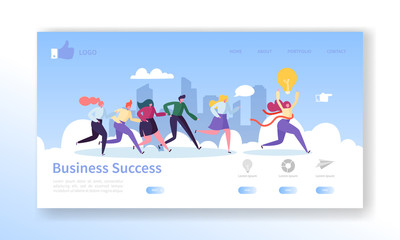 Business Success Landing Page Template. Website Layout with Flat People Characters Running to Finish. Leadership Concept. Easy to Edit and Customize Mobile Web Site. Vector illustration