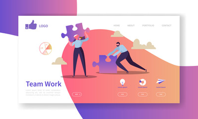 Team Work Landing Page Template. Website Layout with Flat People Characters with Puzzle. Easy to Edit and Customize Mobile Web Site. Vector illustration