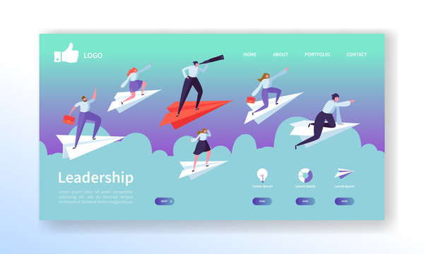 Business Vision Landing Page Template. Website Layout with Flat People Characters Flying on Paper Plane. Easy to Edit and Customize Mobile Web Site. Vector illustration