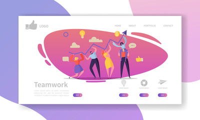 Team Work Landing Page Template. Website Layout with Flat People Characters Working Together. Easy to Edit and Customize Mobile Web Site. Vector illustration
