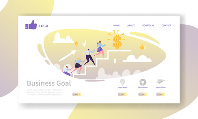 Business Career Landing Page Template. Website Layout with Flat People Characters Going to Success. Easy to Edit and Customize Mobile Web Site. Vector illustration
