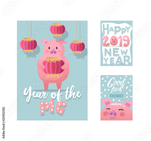 happy new year posters cute pig symbol of 2019 year greeting card banner