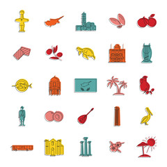 Cyprus icons set, doodle style