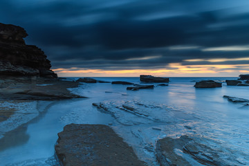 A Luminescent Shimmering Blue Dawn Seascape