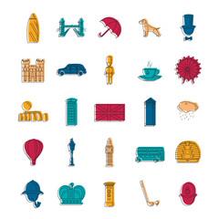England icons set, doodle style