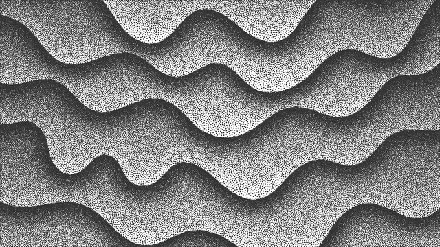3D Abstract Vector Smooth Liquid Curved Lines Retro Style Dotwork Background. Hand Made Dotted Stippling Engraving Texture