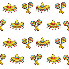 Seamless pattern on white background. Mexican hat and marocas..