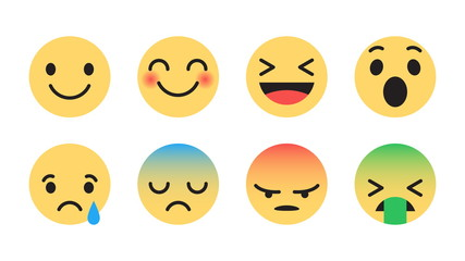 Flat Design Vector Emoticons Set with Different Reactions for Social Network Isolated on White Background. Modern Emoji Collection