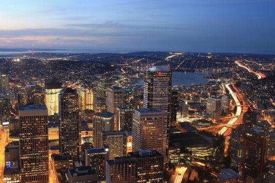シアトル 街並み, シアトルの夜景,  Seattle night view