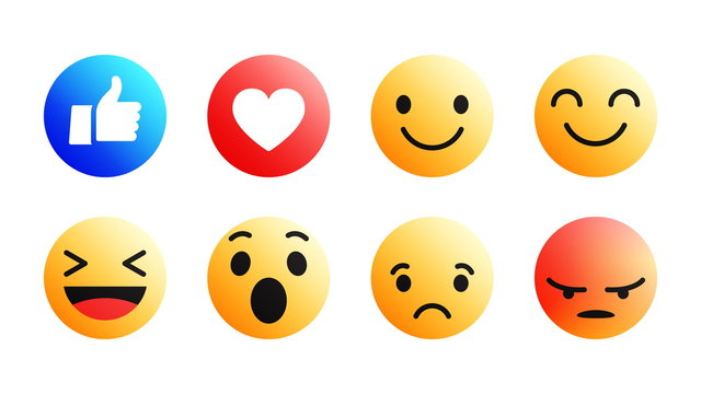3D Vector Modern Design Facebook Emoji Icons Set with Different Reactions for Social Network Isolated on White Background