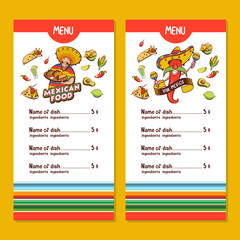 Mexican food. The layout of the menu of the Mexican restaurant. Vector illustration.