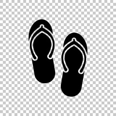 Beach slippers. Flip flops icon. On transparent background.