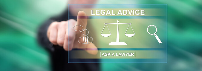 Man touching a legal advice concept
